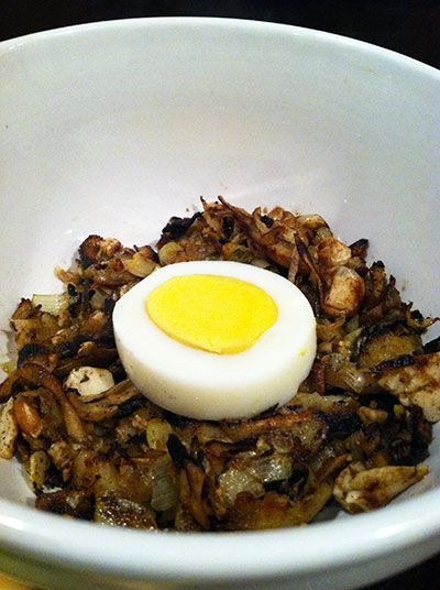 Parnsip and Leek Hash with Hard-Boiled Egg