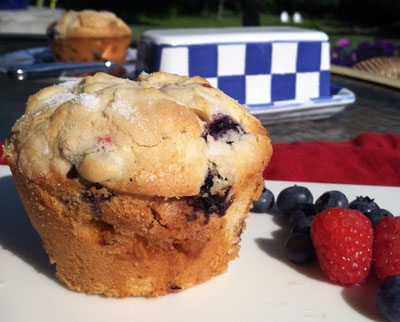 Raspberry, Blueberry, White Chocolate Muffins